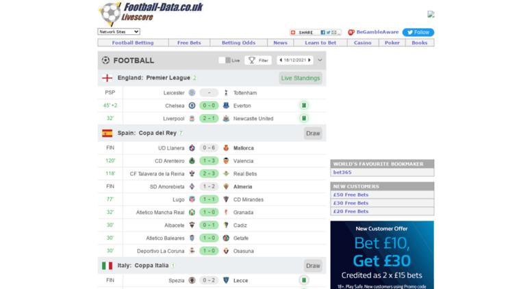 Access Livescorefootball Datacouk Football Livescores