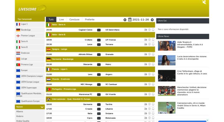 Access Livescore24 It Livescore24 It Diretta Gol Risultati Calcio In Tempo Reale