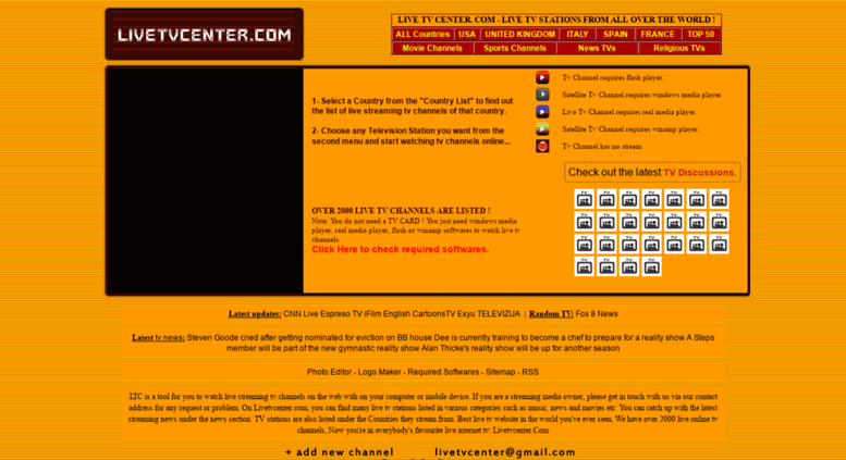 Access livetvcenter com  LIVE TV CENTER - LIVE TV CHANNELS FROM ALL