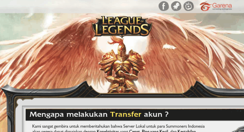 Access loltransfer garena co id  Transfer Akun - League of