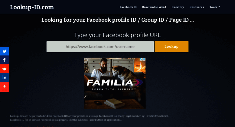 Access lookup-id com  Find my Facebook ID | Find Facebook Group ID