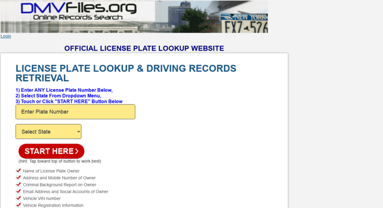 Vin Owner Lookup >> Access Lookup Dmvfiles Org License Plate Lookup