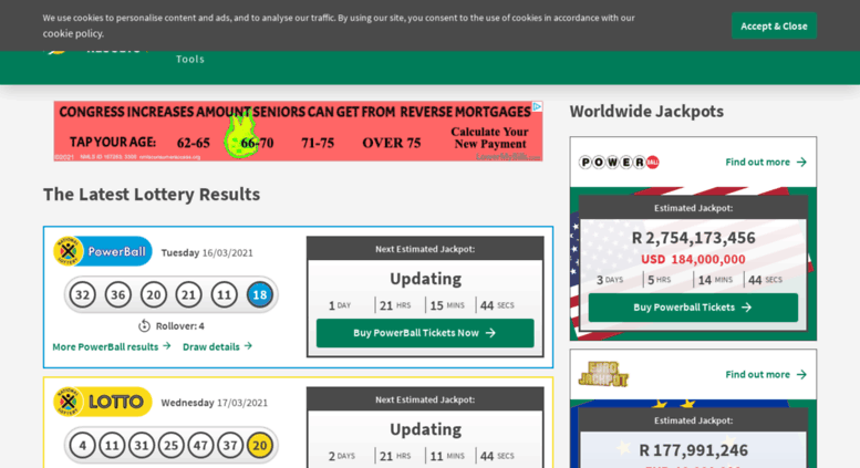 Access lotteryresults co za  Lotto & PowerBall Results