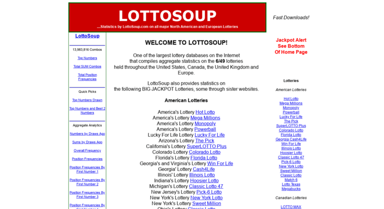 Access lottosoup com  LottoSoup - Stats on all the major