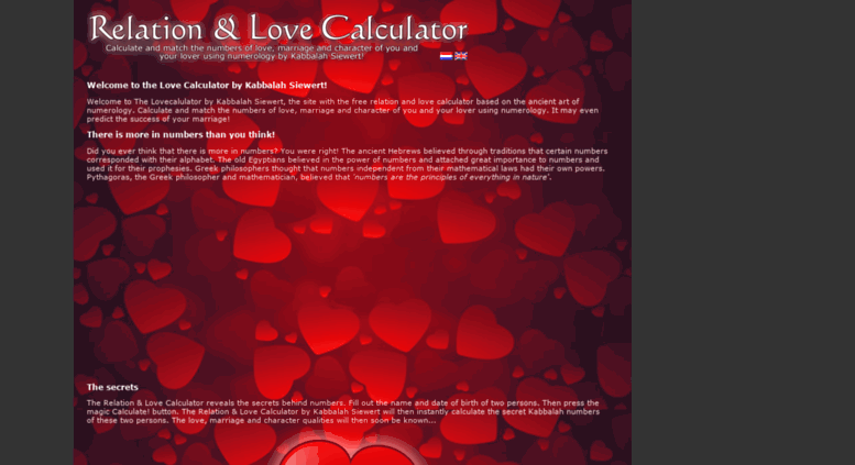 Access lovecalculator cc  The Love Calculator - Easily calculates if