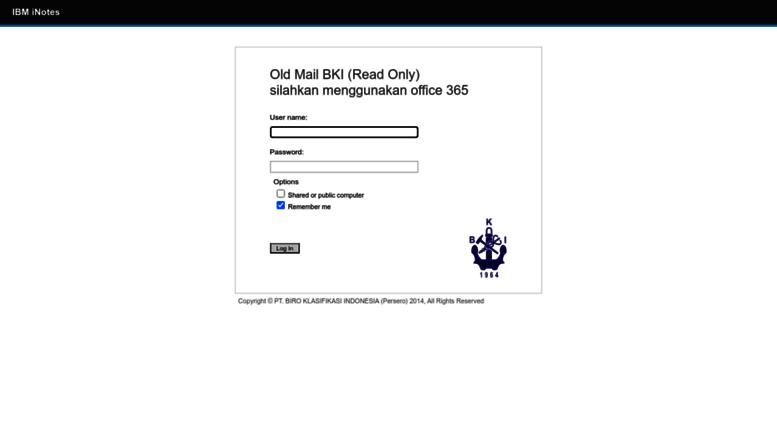 Access mail bki co id  IBM iNotes Login