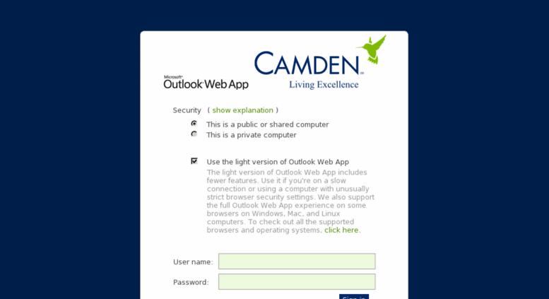 Access mail.camdenliving.com. Outlook
