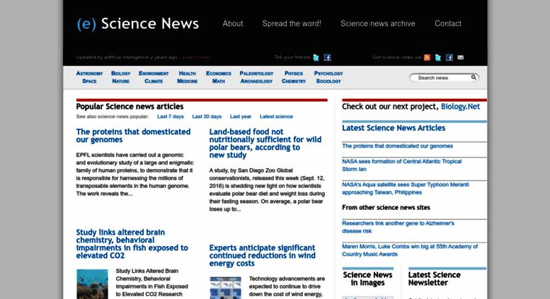 Access mail esciencenews com  (e) Science News   Latest