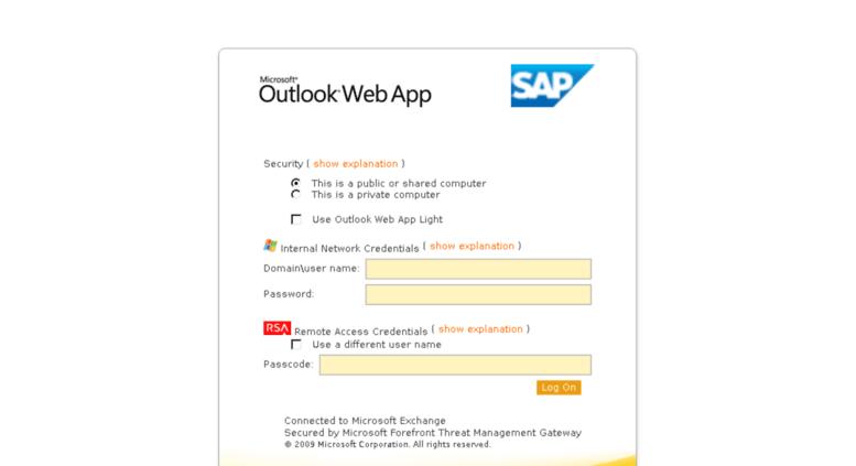 Access mail sap com  Outlook Web App on BUTTERS (EN)