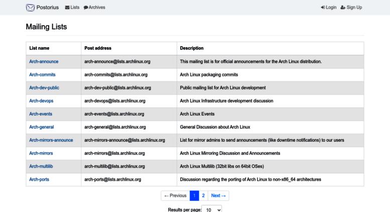 Access mailman archlinux org  lists archlinux org Mailing Lists