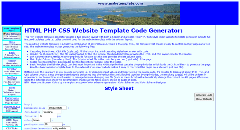 Access maketemplate. Com. Website html css php template generator.