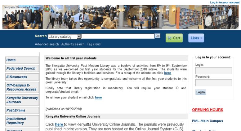 Access maktaba ku ac ke  Kenyatta University Library catalog
