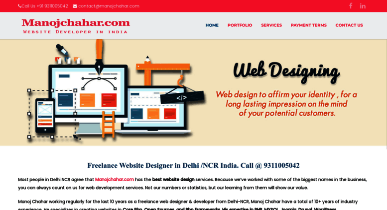 Access Manojchahar Com Cheap Freelance Website Designer In Delhi Ncr Website Maker In Delhi Web Design In Delhi