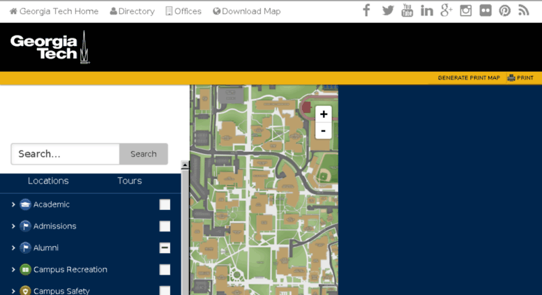 Map Of Georgia Tech Campus.Access Map Gtalumni Org Gt Georgia Institute Of Technology