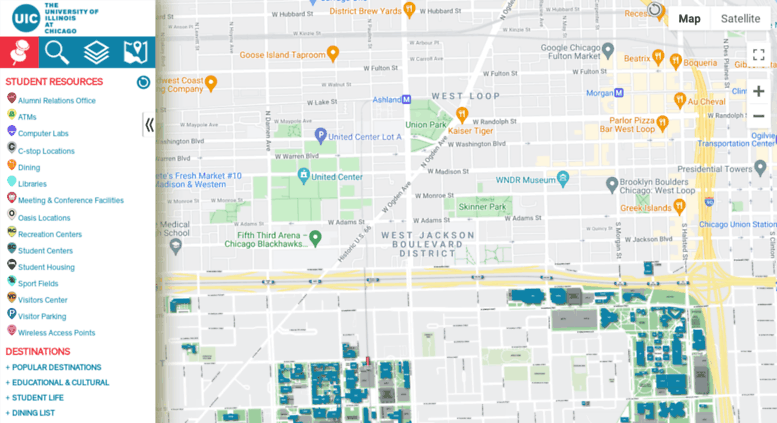 Illinois College Campus Map.Access Maps Uic Edu Campus Map University Of Illinois At Chicago