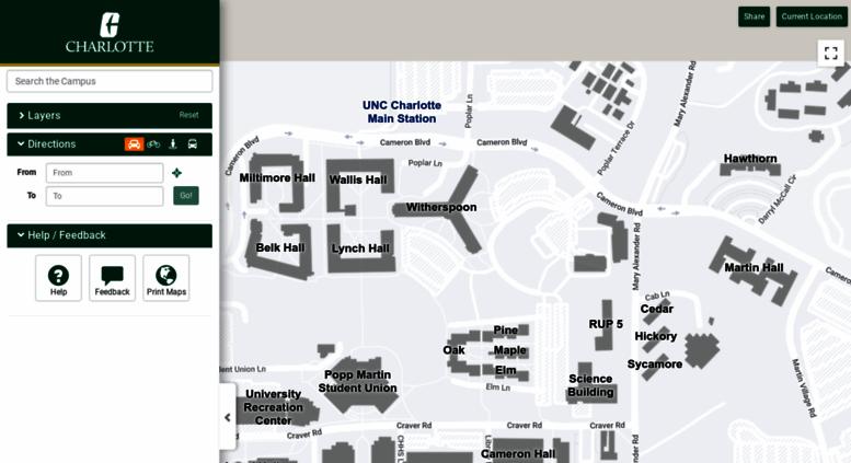 Access Maps Uncc Edu Unc Charlotte Web Map