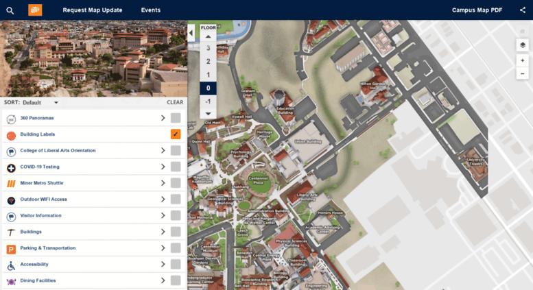 Campus Map Utep.Access Maps Utep Edu Campus Map