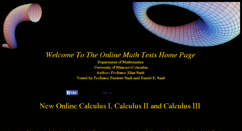 Access mathonline.missouri.edu. The OnLine Math Tests Home ...