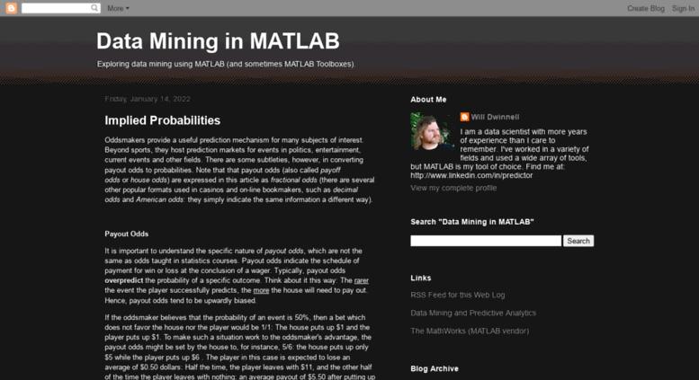 Access matlabdatamining blogspot co uk  Data Mining in MATLAB