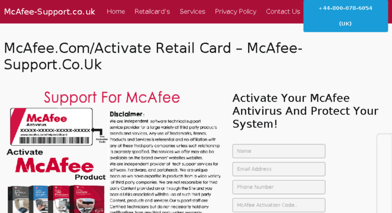Access mcafee-support co uk  McAfee Retail Card - www mcafee