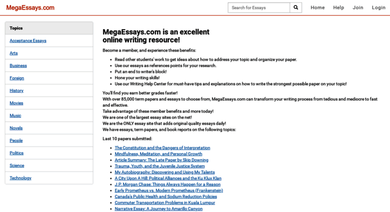 Access Megaessayscom Essays And Papers Online  Mega Essays Megaessayscom Screenshot