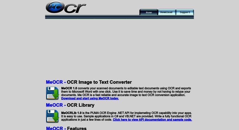Access meocr com  MeOCR Home - Image to Text Converter