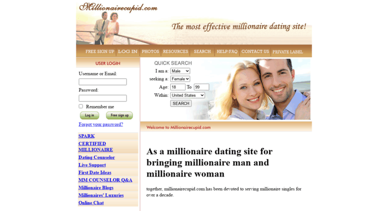 Date a millionaire login