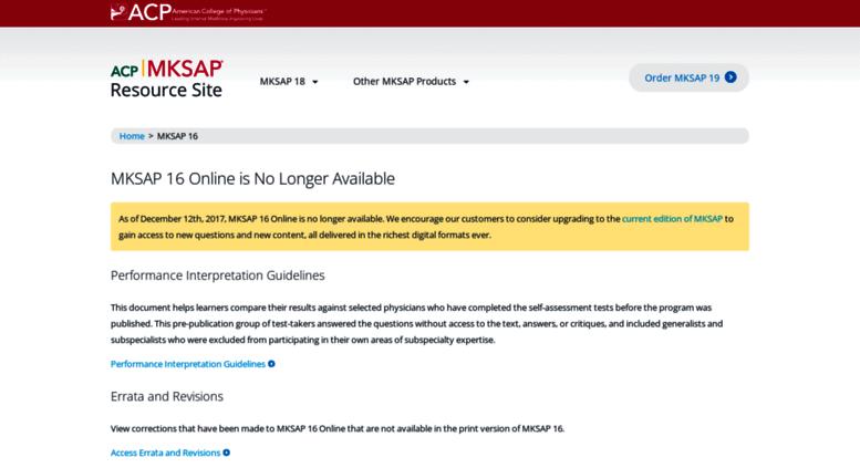 Access mksap16 acponline org  MKSAP 16 Online is No Longer