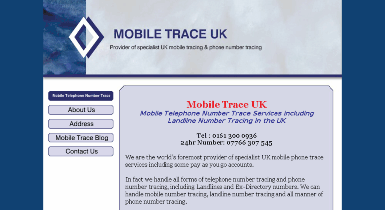 Access mobiletraceuk com  Mobile Trace UK - Mobile Telephone Number