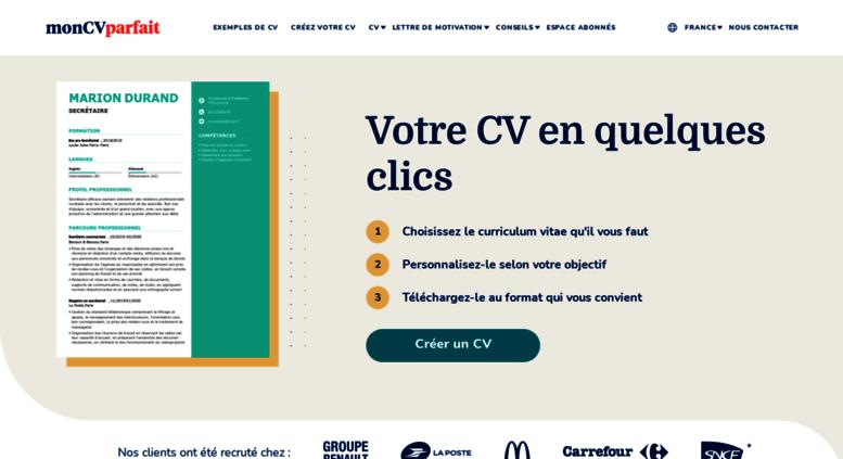 Access Moncvparfait Fr Créateur De Cv Créateur De Cv