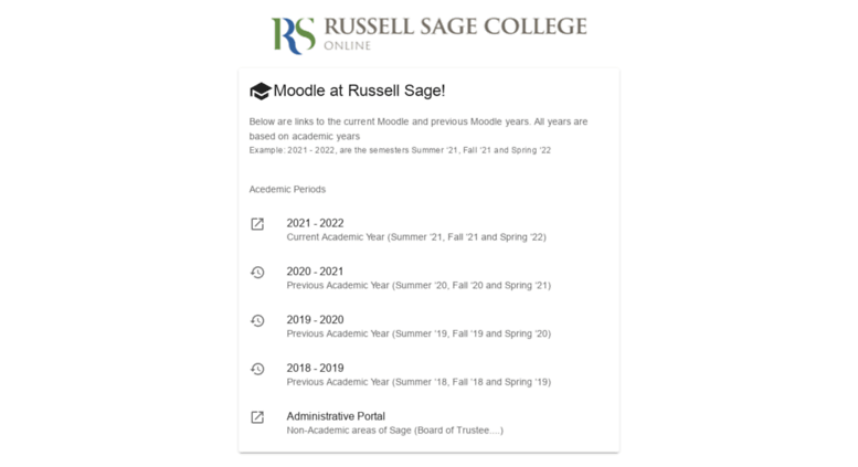 russell sage moodle