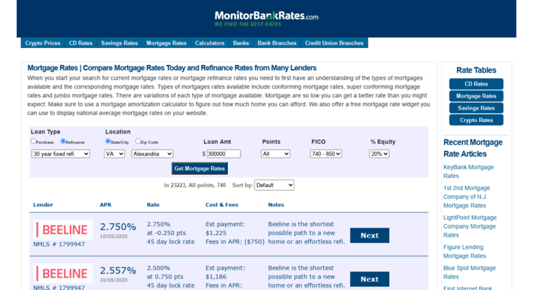 Refinance Rates Today >> Access Mortgagerates Monitorbankrates Com Mortgage Rates