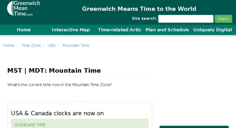 Mountain Standard Time Zone Map.Access Mountain Standard Time Com Mountain Time Now Greenwich