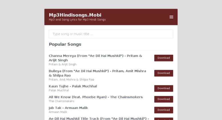 Access Mp3hindisongs Mobi Mp3hindisongs Mobi Mp3 And Song Lyrics For Mp3 Hindi Songs