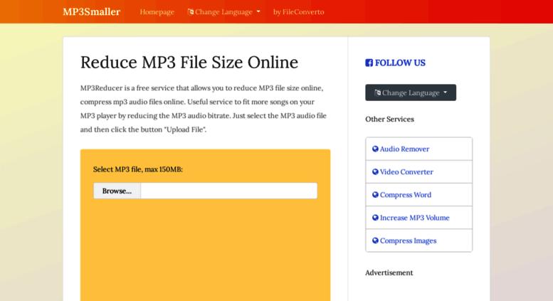 Compress MP3, reduce mp3 file size - Online Converter