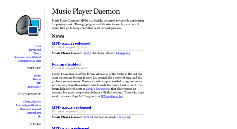 Access musicpd org  Music Player Daemon