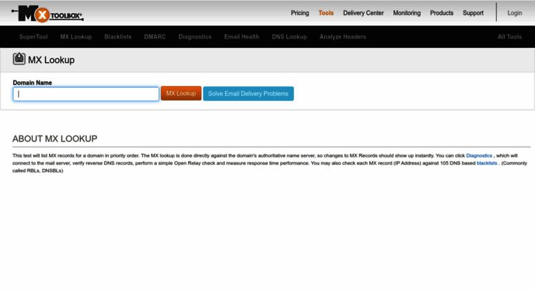 Access mxtoolbox com  MX Lookup Tool - Check your DNS MX Records