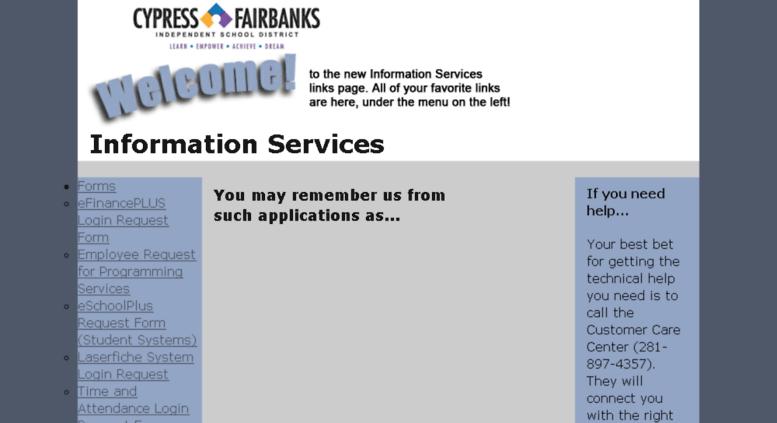 Access My Infoserv Cfisd Net Information Services Links