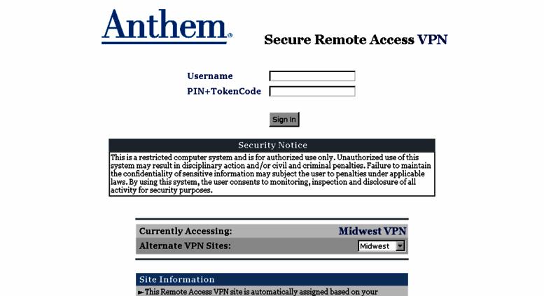 Access myconnection antheminc com  Anthem® Remote Access VPN