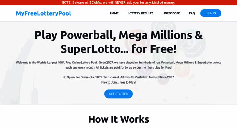 Access myfreelotterypool com  FreeLotteryPool com | Play