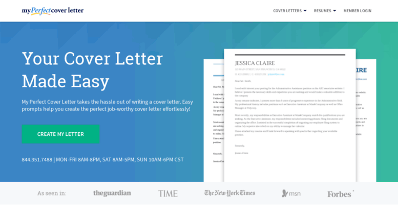 Access Myperfectcoverletter Build Your Cover Letter
