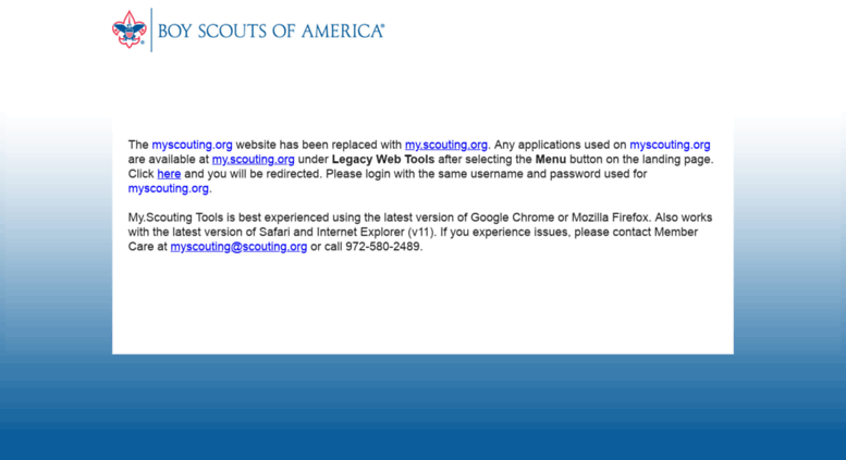 Access myscouting org  Legacy Web Tools