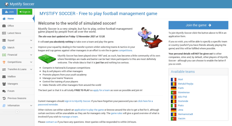 Access Mystify Co Uk Free To Play Football Manager Game Mystify