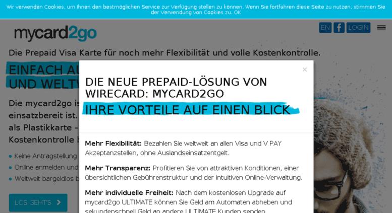 Visa Karte Prepaid.Access Mywirecard De Mycard2go Die Prepaid Visa Kreditkarte