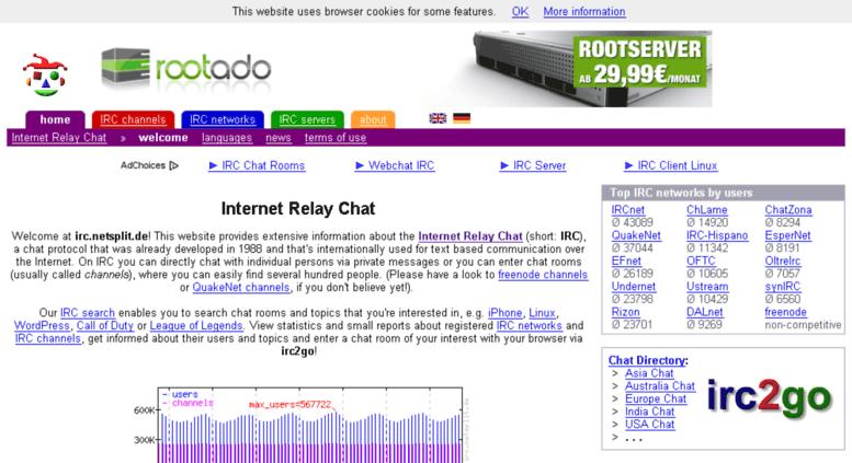 Access netsplit de  Internet Relay Chat - IRC - irc netsplit de