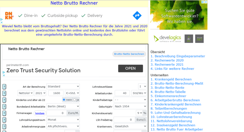 Access netto-brutto-rechner.net. Netto Brutto Rechner 2021