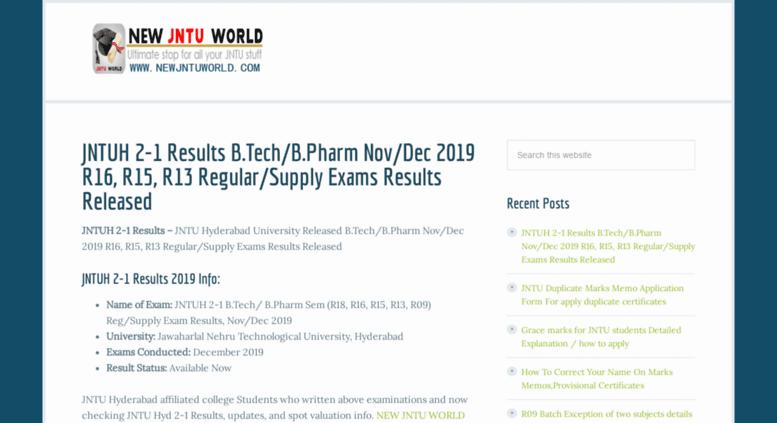 Access newjntuworld com  JNTU WORLD - JNTU WORLD Results