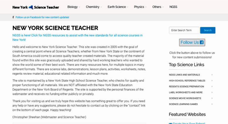 newyorkscienceteacher Access newyorkscienceteacher.com. New York Science Teacher ...