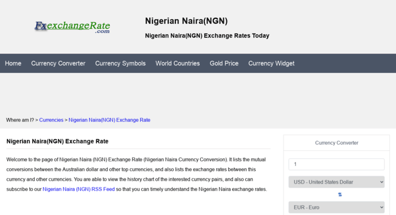 Ngn Fxexchangerate Nigerian Naira Exchange Rates Today Currency Converter Fx Rate