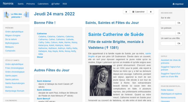 Calendrier Des Saints Et Des Prenoms.Access Nominis Cef Fr Nominis Saints Fetes Et Prenoms Du